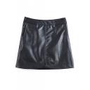 A-Line PU High Waist Plain Mini Double Pockets Skirt