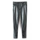 Zipper Fly Plain PU Harem Loose Tapered Pants