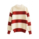 Round Neck Stripes Color Block Chunky Knit Sweater