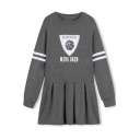 Stripe Trims Basketball & Letter Print Sweatshirt Dress