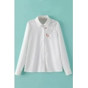 Hand & Cigarette Print White Button Down Lapel Shirt