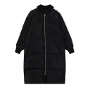 Stand Up Neck Color Block Zipper Long Padded Coat
