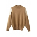 Hing Neck Lace Patchwork Shoulder Pullover Sweater