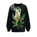 Digital Sexy Girl Print Long Sleeve Pullover Sweatshirt