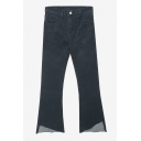 Black Asymmetrical Hem Loose Flare Zipper Fly Jeans
