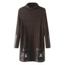 Turtleneck Cartoon Embroidery PU Patchwork Pockets Knit Dress