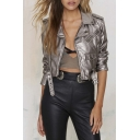 Silver Notched Lapel Plain Belt Detail Cropped Biker Jacket