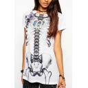 Skeleton Print Short Sleeve Round Neck White Long Tee
