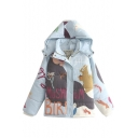 Blue Hooded Zipper Cartoon Print Cute Padded Coat