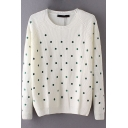 White Polka Dot Embroidery Sequined Long Sleeve Sweater