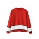 Round Neck Color Block Hem Stripe Trims Long Sleeve Sweater