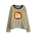 Fired Egg Patchwork Round Neck Letter Embroidery Sweatshirt