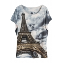 Eiffel Tower Print Round Neck Batwing Short Sleeve Tee