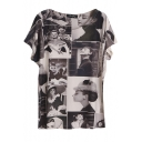 Beauty Print Batwing Short Sleeve Round Neck Pullover Tee