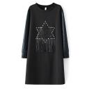 Star Patchwork Rivet & Tassel Detail Shift Midi Black Dress