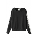 Round Neck Long Sleeve Lace Patchwork Sweatshirt