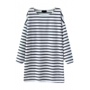 Round Neck Loose Stripes Color Block Long Sleeve Dress