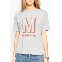 Gray Round Neck Short Sleeve Letter Print Pullover Tee