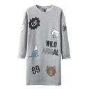 Gray Round Neck Long Sleeve Cartoon & Letter Print Tunic Sweatshirt