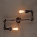 Industrial 2 Light Pipe LED Wall Lamp in Aged Copper Finish