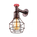 Dark Copper Single Light Wire Cage Pipe LED Wall Lantern