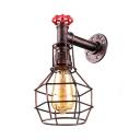 Dark Copper Single Light Wire Cage Pipe LED Wall Lantern