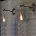 Industrial Pipe Single Light LED Wall Lamp in Dark Bronze for Pathway Stairs Restaurant