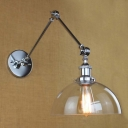 10'' Wide Chrome 1 Light Clear Dome Shade Adjustable LED Wall Sconce