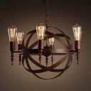 Industrial LED Orb Chandelier Pendant in Antique Copper, 21'' W, 6 Light
