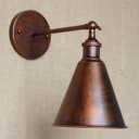 Weathered Copper Single Light Indoor Hallway LED Wall Sconce with Cone Metal Shade