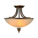 Antique Bronze 18'' Wide White Glass LED Semi-Flush Ceiling Light