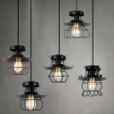 Nine Inches Wide 1 Light Industrial Wire Cage LED Mini Pendant