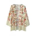 Floral Print Cocoon Neck Beige Tassel Hem Longline Kimono