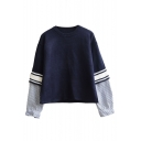 Stripes Patchwork Round Neck Cropped False Two-Piece Sweater