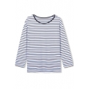 Round Neck Classic Stripes Long Sleeve Tee