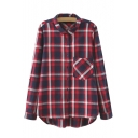 Lapel Single Pocket Dip Hem Plaid Button Down Shirt