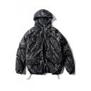 Hooded Ink Graffiti Zipper Drawstring Padded Coat