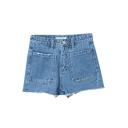 Plain Washed Old Zipper Fly Blue Raw Edge Hot Denim Shorts