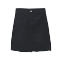 Zipper Fly Plain A-Line Double Pockets Raw Edge Denim Skirt