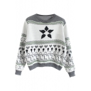 Round Neck Geometric Jacquard Long Sleeve Cropped Sweater