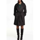 Lapel Open Front Long Sleeve Plain Belt Waist Tweed Long Coat