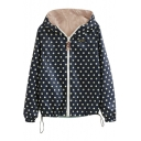 Polka Dot Color Block Zipper Drawstring Hem Columbia Coat