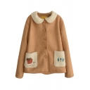 Lapel Cartoon Embroidery Wool Patchwork Single Breasted Suede Coat