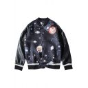 Single Breasted PU Patchwork Sleeve Universe Galaxy Print Jacket