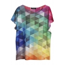 Round Neck Geometric Patterned Color Block Short Sleeve Tee