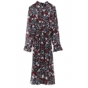 Floral Print Elastic Waist Long Sleeve Maxi Chiffon Dress