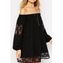 Plain Off The Shoulder Long Sleeve Lace Patchwork Swing Dress