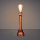 Single Light Pipe LED Desk Lamp in Antique Copper Finish