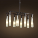 Rust Iron Eight Light White Glass Bottle 1 Tier LED Island Chandelier
