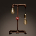 Asymmetrical Two Light Rust Iron LED Table Lamp